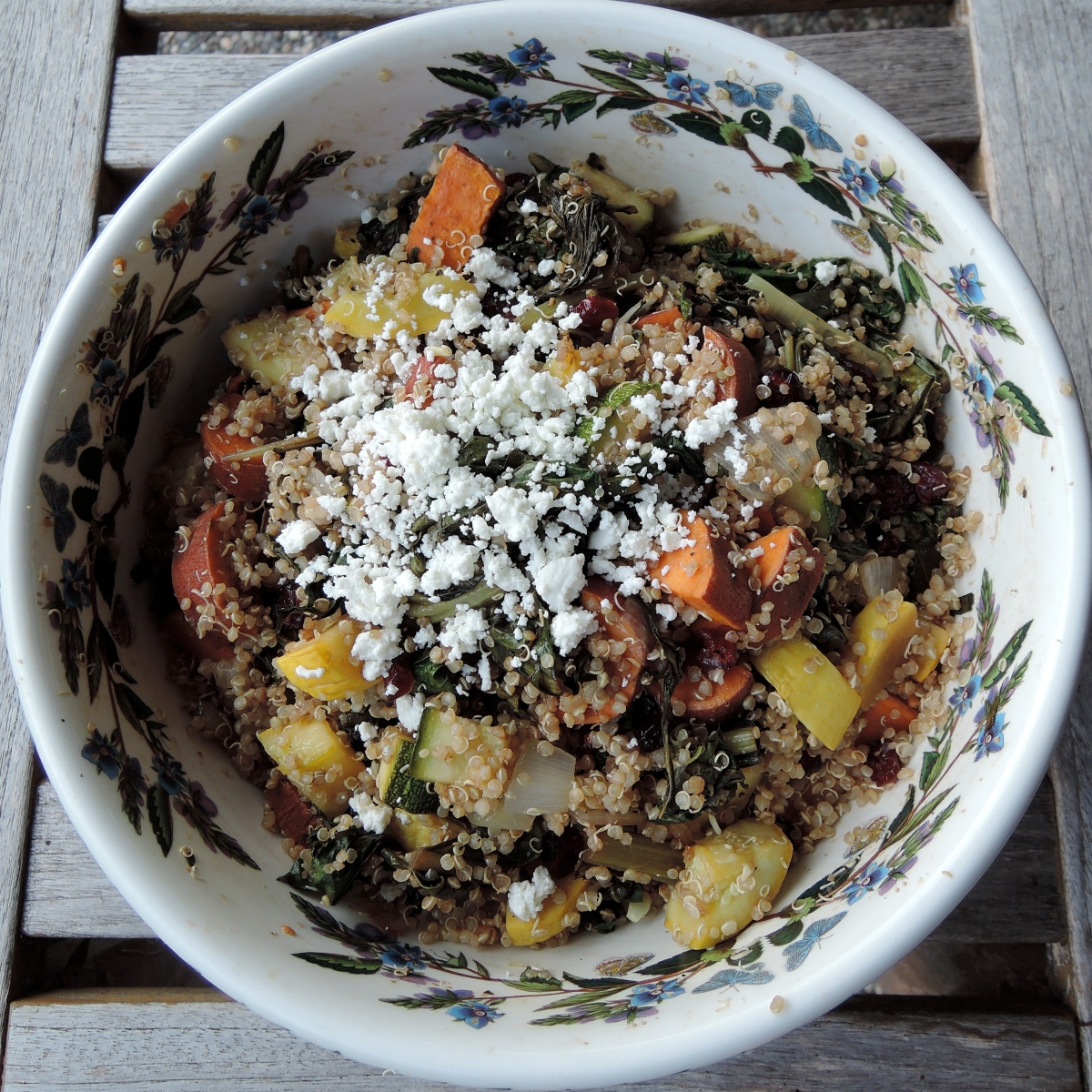 Quinoa Salad with Summer Squash, Swiss Chard, and Sweet Potatoes